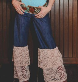 Denim Pant with Lace Ruffle