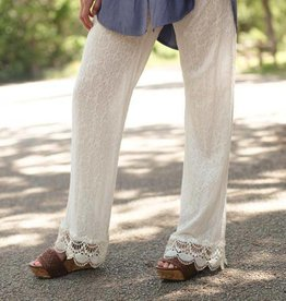 PUNCHYS Textured Sheer Palazzo Pants with Crochet Trim