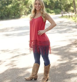 Simple Tank with Fringe Crochet Border