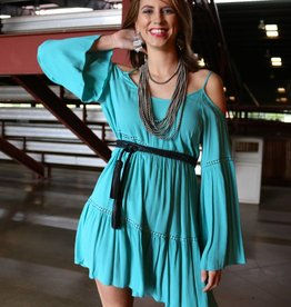 Teal Cold Shoulder Boho Dress