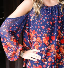 Floral Top with Shoulder Cutout
