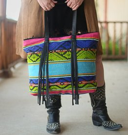 Serape Tote with Black Fringe