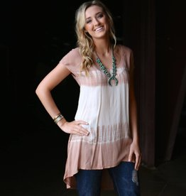Black Swan Cream and Tan Tie-Dye Top