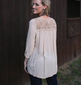 Black Swan Tan Top With Crochet Back