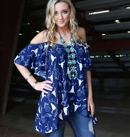 Steer Head Boho Print Cold Shoulder Top