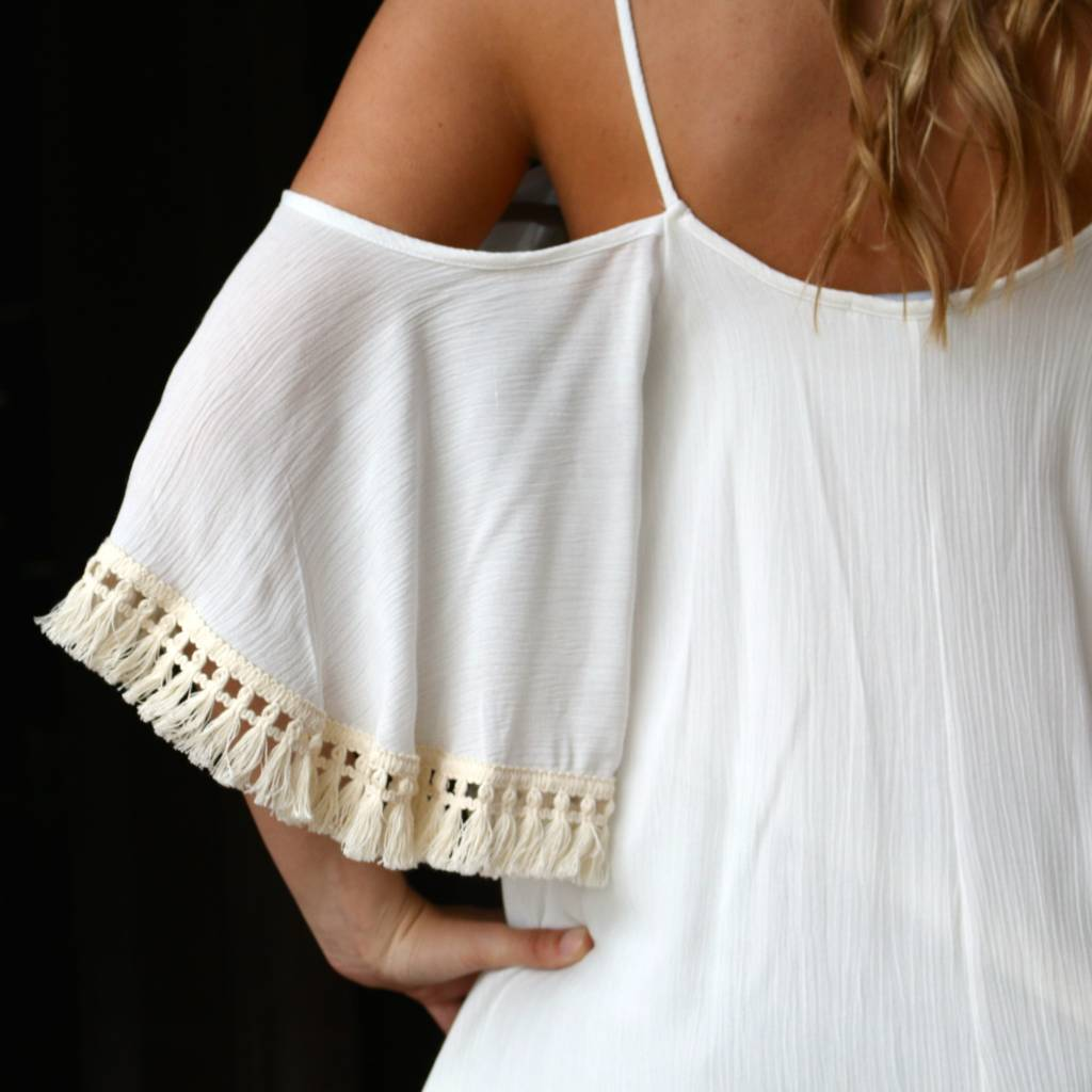 PUNCHYS Ivory Cold Shoulder Tank with Flutter Sleeve