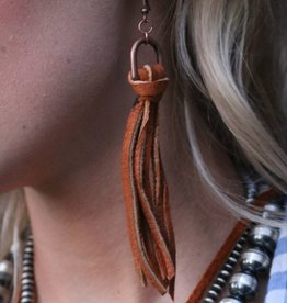 Elk Skin Leather Tassel Earrings