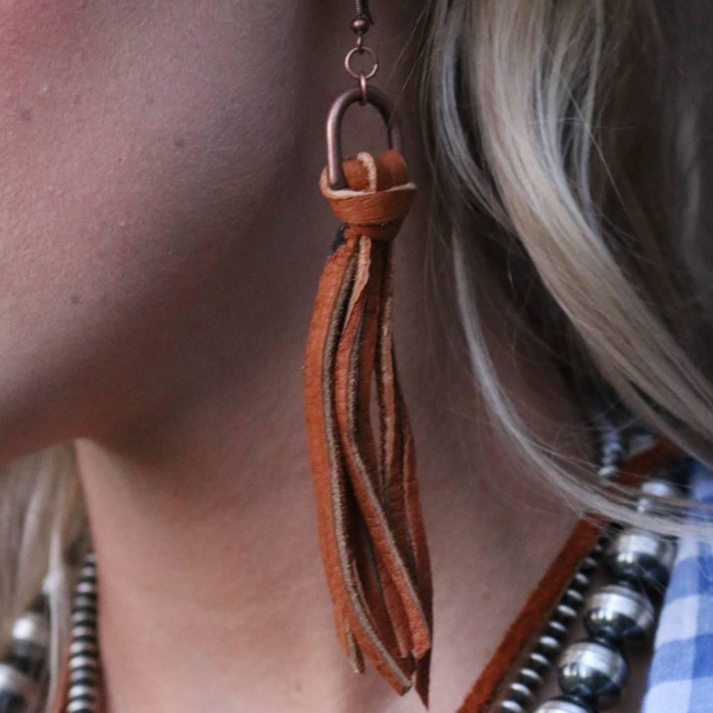 Elk Skin Leather Tassel Earrings