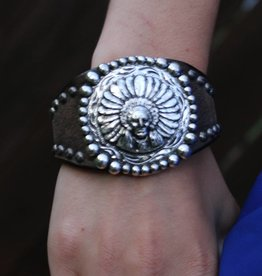 Indian Chief Concho Leather Cuff