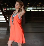 Neon Coral Open Back Tank Dress