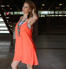 PUNCHYS Neon Coral Open Back Tank Dress