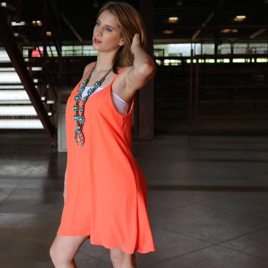 Neon Coral Open Back Tank Dress