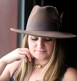 PUNCHYS Brown Wide Brim Fedora with Feather