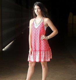 Coral Aztec Print Mini Dress