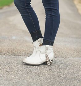 Crackled Off White Booties