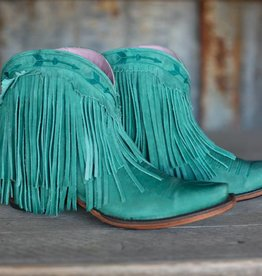Waxed Turquoise Leather Fringe Bootie