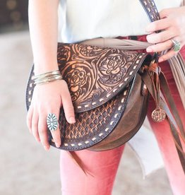 Brown Vintage Saddle Bag with Southwest Diamond Tooling