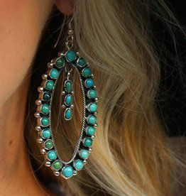 PUNCHYS Sterling Silver Oval Turquoise Earrings