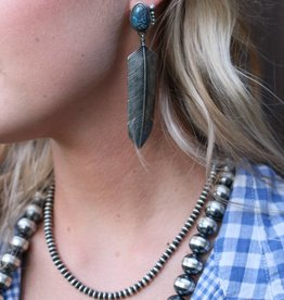 PUNCHYS Sterling Silver Feather Earrings with Turquoise