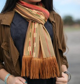 Ortiz Fashions Inc. Flaming Sun Clay Scarf w/ Rust Fringe