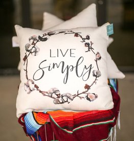 PUNCHYS Live Simply with Cotton Wreath Pillow