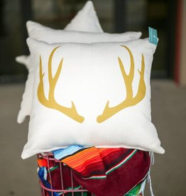 Gold Antlers Pillow