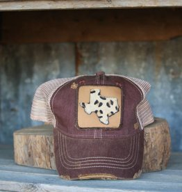 Leopard Texas Patch Maroon Hat