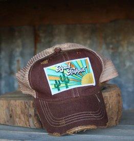 Distressed Maroon Road Trippin Hat