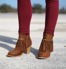 Pierre Dumas Suede Ankle Bootie with Fringe