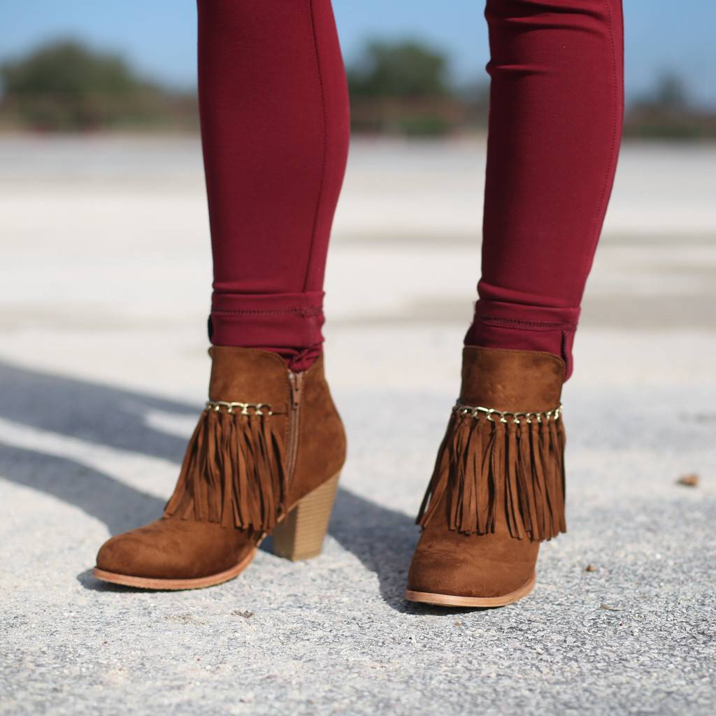 Suede Ankle Bootie with Fringe