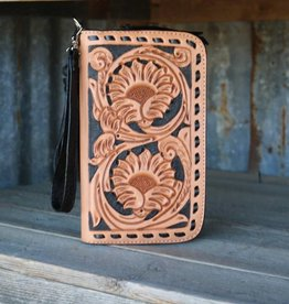 Floral Tooled Clutch Organizer with Black Buckstitch Detail