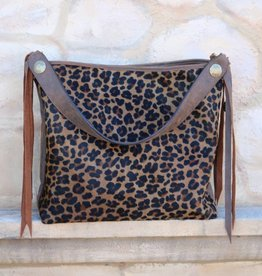 Big Leather Tote Bag with Jaguar Cowhide