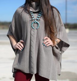 Black Swan Taupe Larisa Knit Sweater Poncho