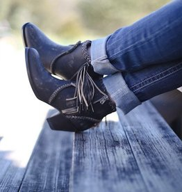 Vintage Black Bootie with Fringe Tassel