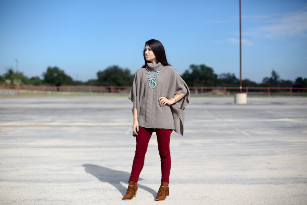 Taupe Larisa Knit Sweater Poncho PUNCHY'S Cuss and Discuss