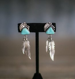 Old Pawn Campetos Turquoise Feather Earring