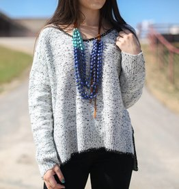Grey Knit Long Sleeve Pullover Sweater