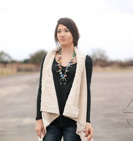 Black Swan Khaki Suede and Fur Vest