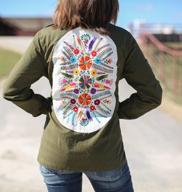 Army Green Jacket with Spanish Floral Patch