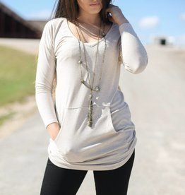 Long Sleeve Ribbed Pocket Tunic