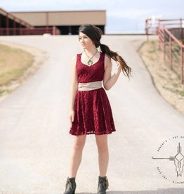 Black Swan Maroon Lace Sweetheart Dress