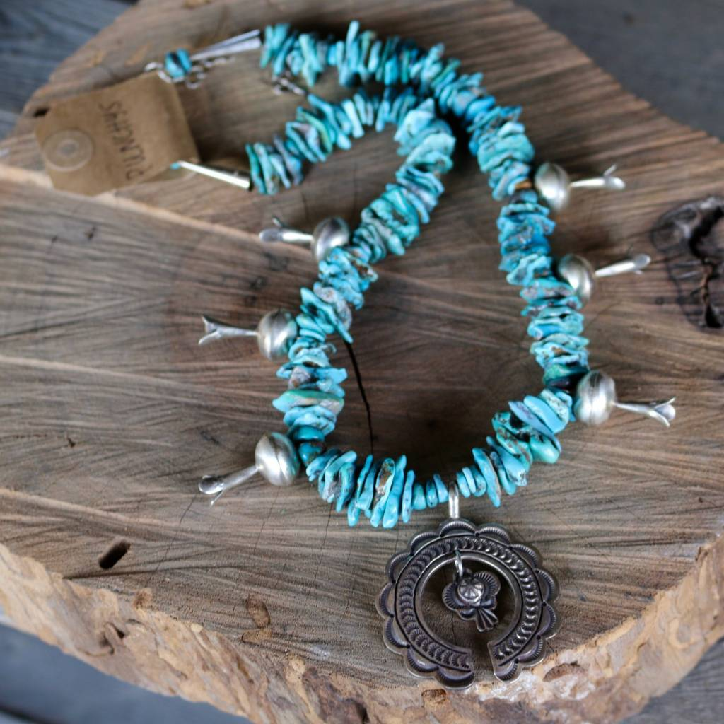 Chipped Turquoise Squash Blossom