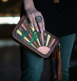 Cactus & Sunshine Painted Leather Clutch