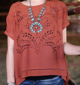 Rust Crop Top with Embroidery