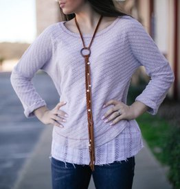 Lightweight Mauve Sweater with Ruffle