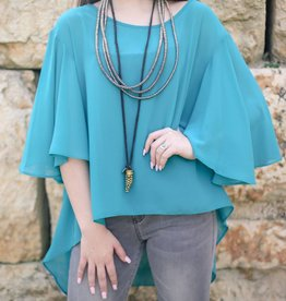 Turquoise Flare Sleeve Hi Low Top