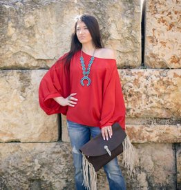 Rust Balloon Sleeve Boho Top