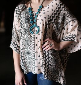 Oversized V Neck Aztec Print Top