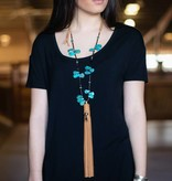 Turquoise Petal Necklace with Tan Leather