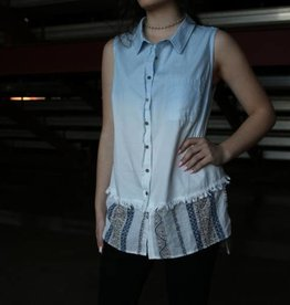 Bleach Denim Shirt with Print Bottom